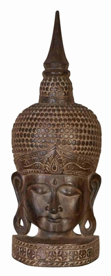 WOOD BUDDHA HEAD RELIGIOUS BLENDDecor - 89830 by Benzara