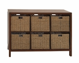The Accommodating Wood Wicker Basket Chest by Woodland Import