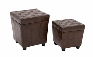 The All-Rounder Set of 2 Wood Faux Leather Stool by Woodland Import