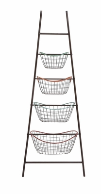 The Amazing Metal Leaning Basket Rack by Woodland Import