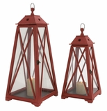 The Amazing Set of 2 Wood Glass Lantern by Woodland Import