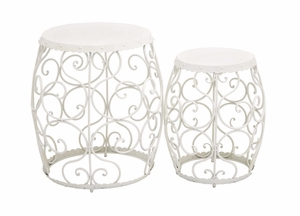 The Angelic Set of 2 Metal Stool by Woodland Import