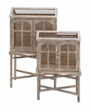 The Beautiful Set of 2 Wood Metal Bird Cage by Woodland Import