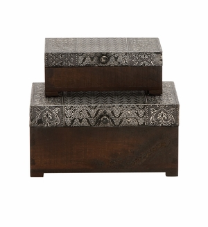 The Beautiful Set of 2 Wood Metal Foil Box by Woodland Import
