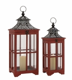 The Beautiful Set of 2 Wood Metal Glass Lantern by Woodland Import