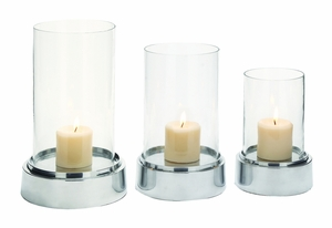 The Beautiful Set Of 3 Aluminium Glass Candle Holder by Woodland Import