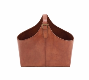 The Beautiful Wood Real Leather Magazine Holder - 95906 by Benzara