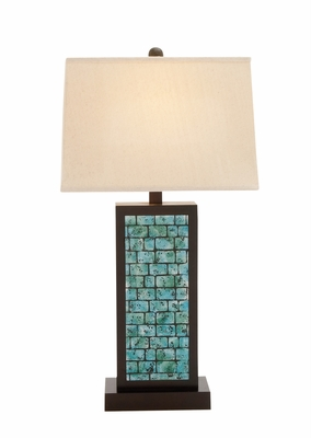 The Blue Wood Table Lamp by Woodland Import