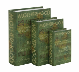 The Bold Green Set of 3 Wood Canvas Book Box by Woodland Import