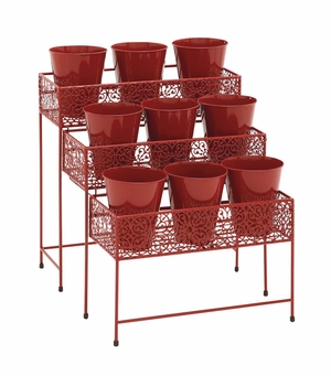 The Bright Metal 3 Tier Plant Stand Red by Woodland Import
