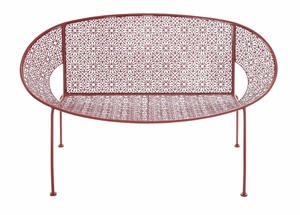 The Bright Metal Red Garden Bench by Woodland Import
