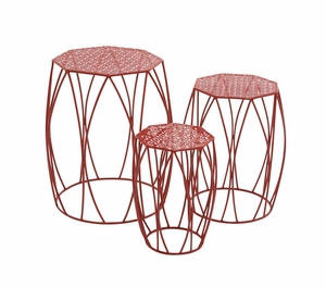 The Bright Set of 3 Metal Red Plant Stand by Woodland Import