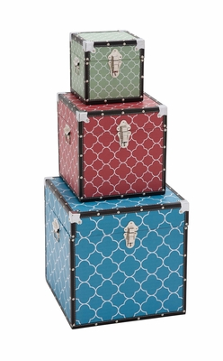 The Bright Set of 3 Wood Vinyl Box by Woodland Import