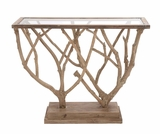 The Brilliant Wood Glass Console Table by Woodland Import