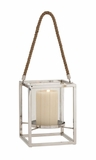 The Charming Stainless Steel Glass Lantern by Woodland Import