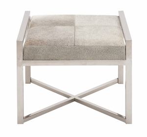 The Charming Stainless Steel Grey Leather Stool by Woodland Import