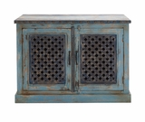 The Charming Wood Pierced Door Cabinet by Woodland Import