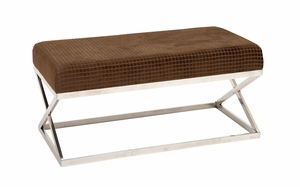 The Checkered S/Steel Fabric Bench by Woodland Import