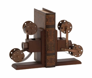 The Classic Wood Metal Book End Pr by Woodland Import