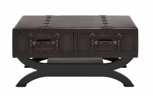 The Classy Wood Leather Coffee Table by Woodland Import