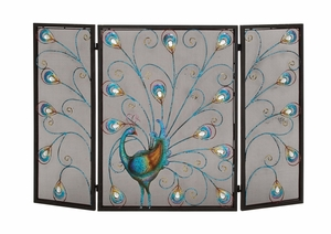 The Colorful Metal Fireplace Screen by Woodland Import