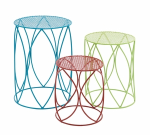 The Colorful Set Of 3 Metal Plant Stand by Woodland Import
