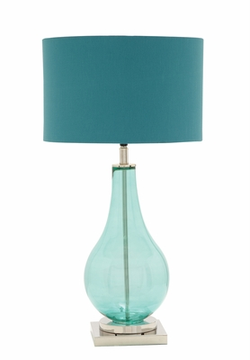 The Cool Blue Glass Chrome Table Lamp by Woodland Import