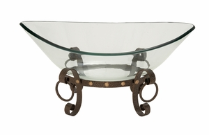 The Cool Glass Bowl Metal Stand by Woodland Import