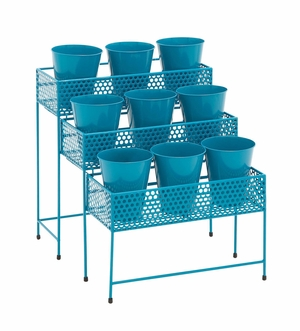 The Cool Metal 3 Tier Plant Stand Blue by Woodland Import