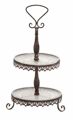 The Cool Metal Glass 2 Tier Tray by Woodland Import