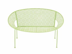 The Cool Metal Green Garden Bench by  Import by Benzara