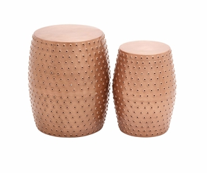 The Cool Set of 2 Metal Punched Stool by Woodland Import