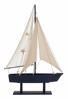 The Cool Wood Canvas Sail Boat by Woodland Import