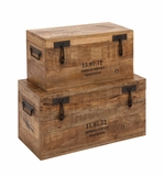 The Coolest and Simplest Set Of 2 Wood Metal Trunk by Woodland Import