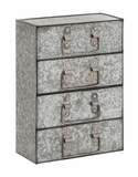The Coolly Aged Metal 4 Drawers by Woodland Import