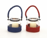 The Cutest Glass Metal Rope Lantern 2 Assorted by Woodland Import