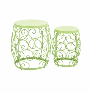 The Delightful Set of 2 Metal Stool by Woodland Import