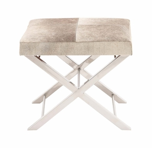 The Different Steel Grey Leather Stool by Woodland Import