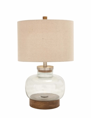 The Distinctive Glass Metal Table Lamp by Woodland Import