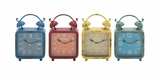 The Distressed but Colourful Metal Desk Clock 4 Assorted by Woodland Import