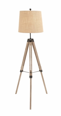 The Elegant Wood Metal Tripod Floor Lamp by Woodland Import