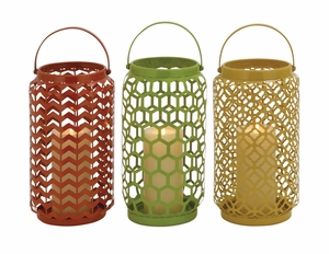 The Evergreen Metal Candle Basket 3 Assorted - 55558 by Benzara