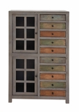 The Exceptional Wood Glass Cabinet with Drawer by Woodland Import