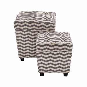 The Funky Set of 2 Wood Fabric Ottoman by Woodland Import