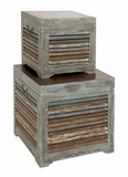 The Gems Set of 2 Wood Trunk by Woodland Import