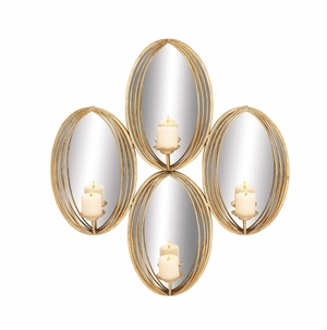 The Gorgeous Metal Mirror Candle Sconce - 54331 by Benzara