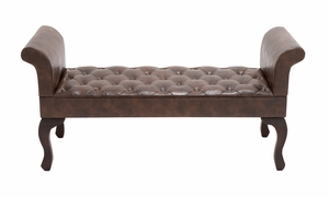 The Gorgeous Wood Leather Bench - 56602 by Benzara