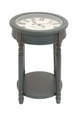 The Gray Wood Glass Clock Table by Woodland Import