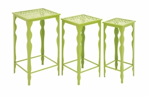 The Green Set of 3 Metal Plant Stand by Woodland Import