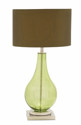 The Greenish Glass Chrome Table Lamp by Woodland Import